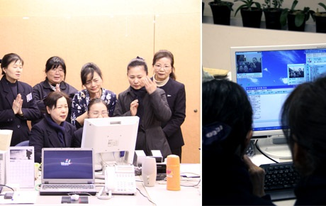 The Tzu Chi headquarters' emergency command center in Hualien held a video conference with the Japan branch to ask what aid was needed. (Photo provided by Tzu Chi Foundation)